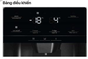 Bảng điều khiển của tủ lạnh Side By Side Bosch KAG93AIEPG