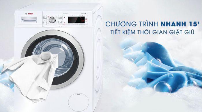 Chế độ giặt nhanh 15 phút của máy giặt Bosch WAW28480SG