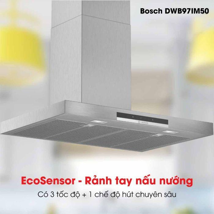 Máy hút mùi Bosch DWB97IM50 độ ồn thấp, công suất lớn