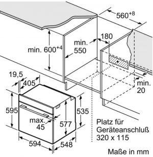Thông số lắp đặt lò nướng Bosch HBG675BB1