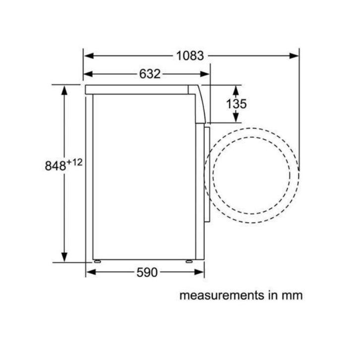 Thông số lắp đặt máy sấy Bosch WTW87561G