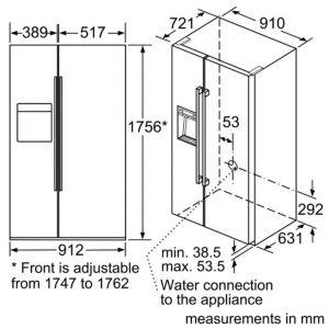 Thông số lắp đặt của tủ lạnh side by side BOSCH KAD92SB30