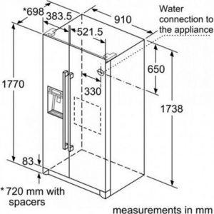 Thông số kỹ thuật của Tủ lạnh Bosch Side by Side KAD90VB20