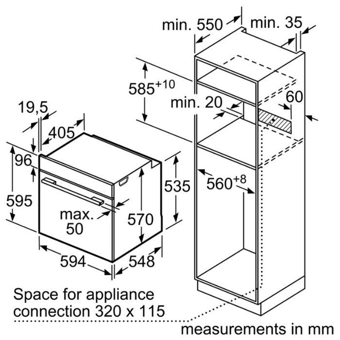 Thông số lắp đặt của lò nướng Bosch lò nướng HBS534BS0B nhập khẩu Châu Âu