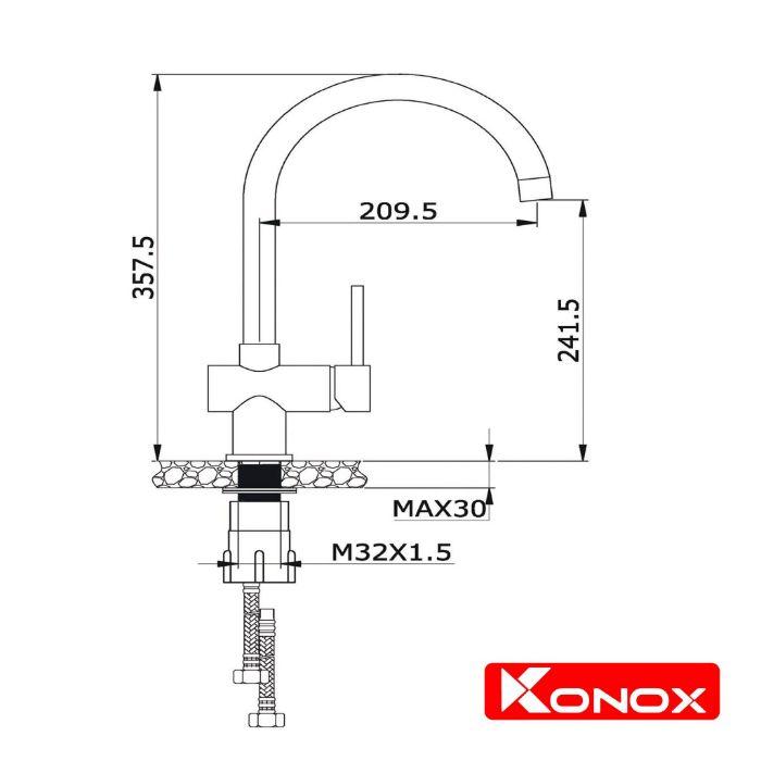 Thông số kỹ thuật của Vòi rửa bát KN1206