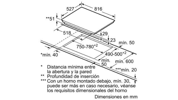 Thông tin lắp đặt của bếp từ Bosch PIE875DC1E
