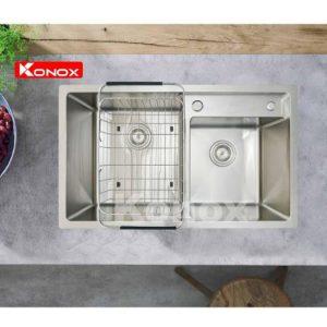 Chậu rửa bát Konox KN8248DO được thiết kế 2 chậu hố lệch