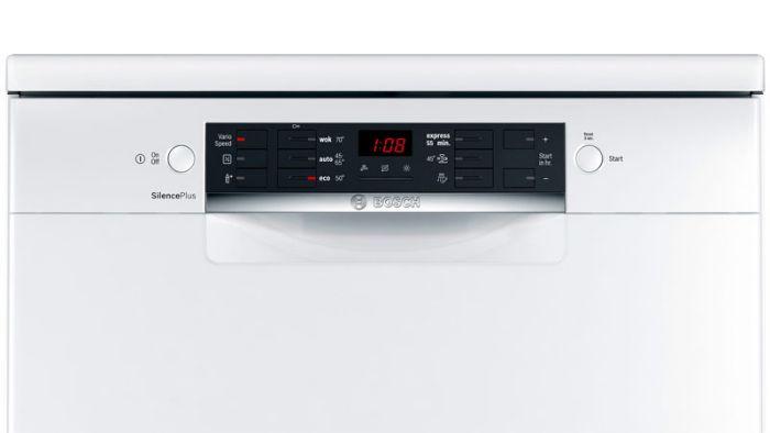 Hiển thị và nút bấm của máy rửa bát Bosch SMS46GW01P đơn giản, sang trọng