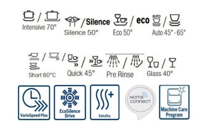 Chương trình và tính năng của máy rửa bát âm tủ BOSCH SMI68TS06E
