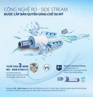Công nghệ RO-Side Stream bàn quyền mỹ được sử dụng trong máy lọc nước AO.Smith G2