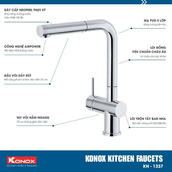 Công nghệ của vòi rửa bát dây rút Konox KN1337 sáng bóng, sang trọng