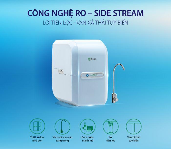 Máy lọc nước A. O. Smith M2 được trang bị công nghệ mới RO - Side Stream