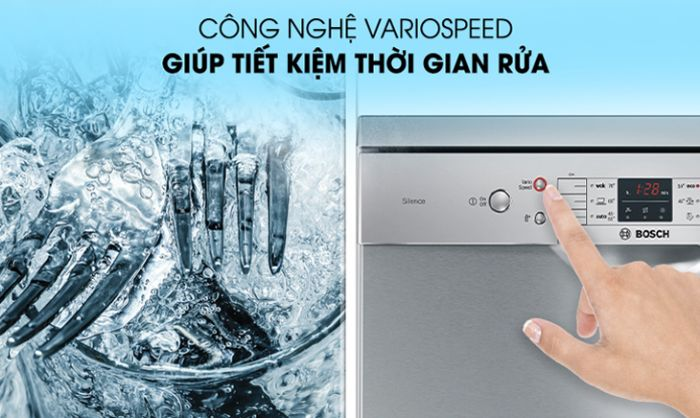 Máy rửa bát Bosch SMS46GW01P với công nghệ VarioSpeed Plus