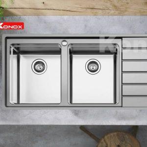 Chậu rửa bát konox KS11650 2B được thiết kế 2 hố cân 1 bàn chờ hiện đại