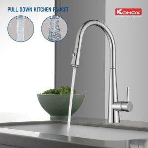 Thiết kế của vòi rửa bát dây rút konox KN1901C linh hoạt 360 độ