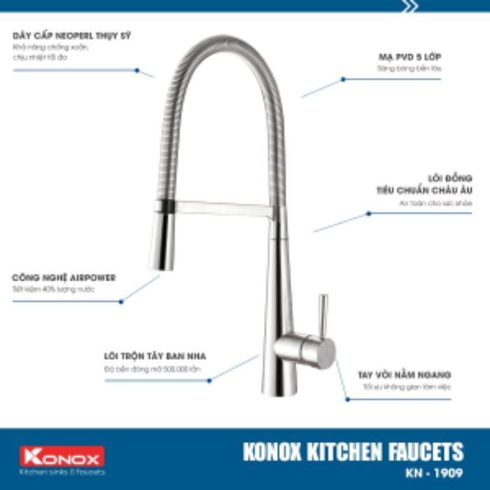 Công nghệ của vòi rửa bát nóng lạnh Konox KN1909