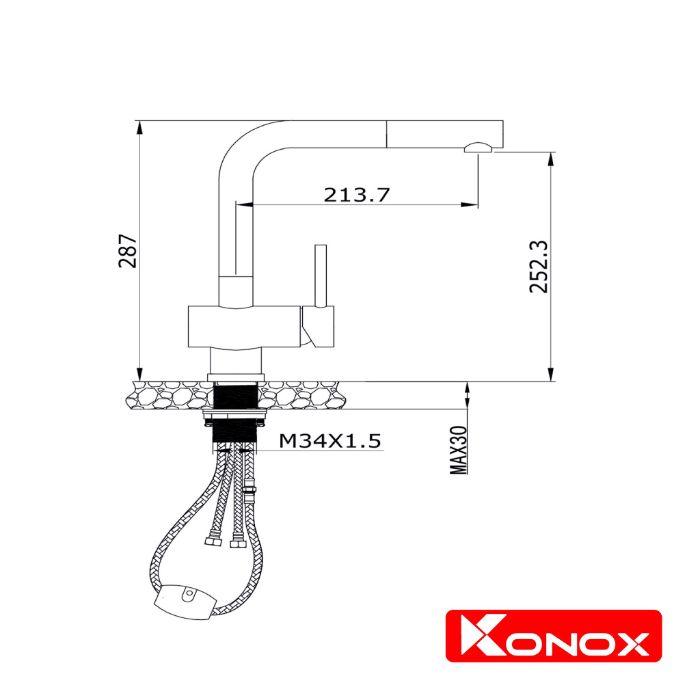 Thông số lắp đặt của vòi rửa bát dây rút Konox KN1337