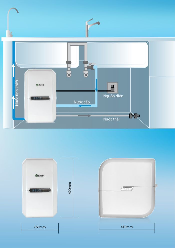 Thông số lắp đặt của máy lọc nước A.O.Smith RO AR75-A-S-2