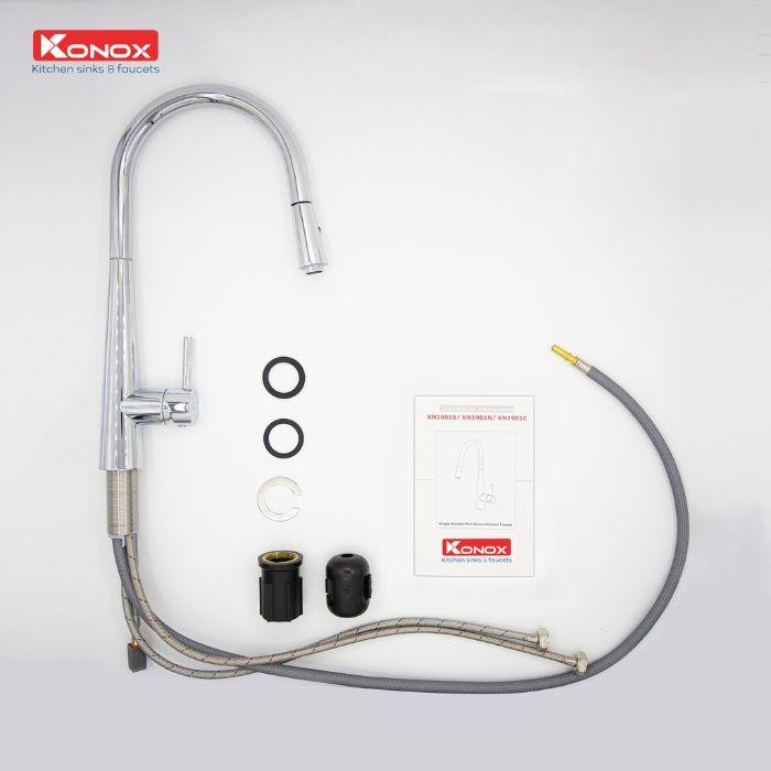 Linh kiện của vòi rửa bát dây rút konox KN1901C bền bỉ với thời gian