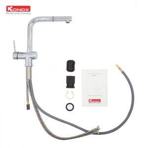 Linh kiện của vòi rửa bát dây rút Konox KN1337 được đánh giá độ bền cao