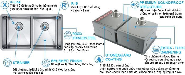 Chậu rửa bát Konox KN8248DO được thiết kế đa dạng, dễ sử dụng