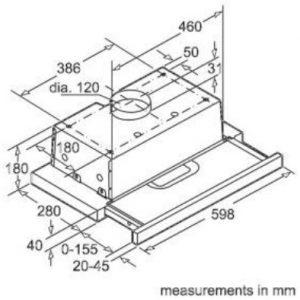 Thông số lắp đặt của máy hút mùi Bosch DHI623GSG