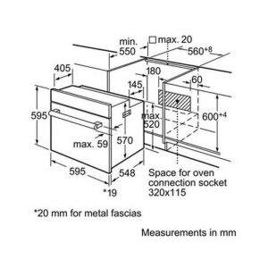 Thông số lắp đặt của lò nướng Bosch HBN331E1K