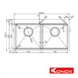 Thông số lắp đặt của chậu rửa bát konox KN8850TD