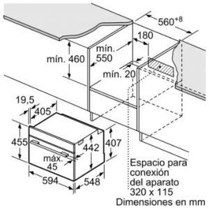 Thông số lắp đặt của lò nướng kết hợp vi sóng Bosch CMG633BB1