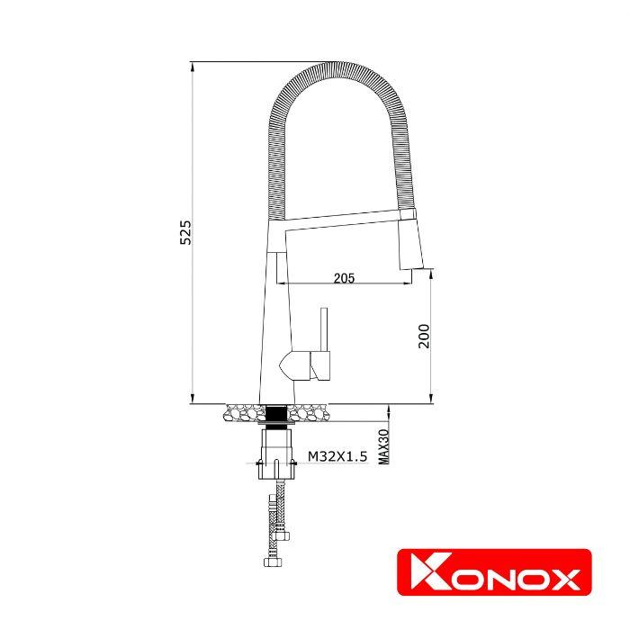 Thông số lắp đặt của vòi rửa bát nóng lạnh Konox KN1909