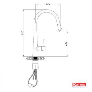 Thông số lắp đặt của vòi rửa bát dây rút konox KN1901C