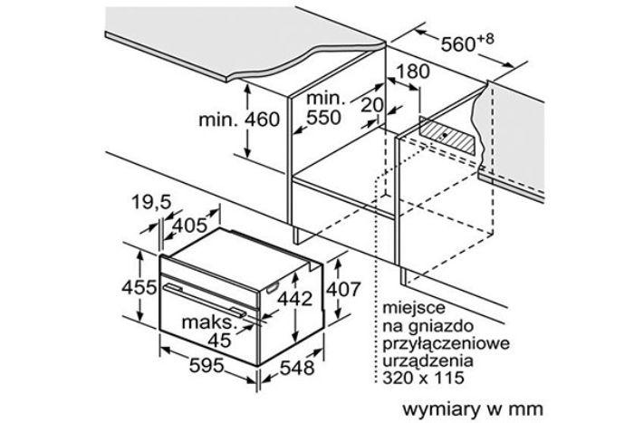 Thông số lắp đặt của lò nướng kết hợp Vi sóng Bosch CMG636BS1