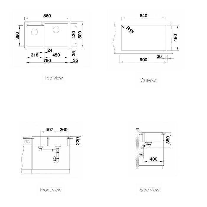 Thông số kỹ thuật của Chậu đá Blanco Pleon 9