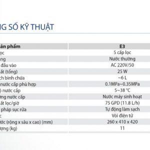 Thông số kỹ thuật của máy lọc nước Aosmith E3