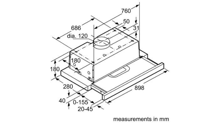 Thông số lắp đặt kỹ thuật của máy hút mùi Bosch DHI923GSG