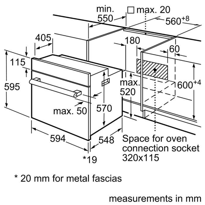 Thông tin lắp đặt của lò nướng Bosch HBF113BR0A