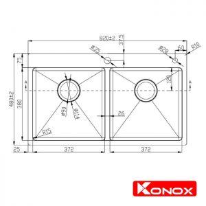 Thông số lắp đặt chậu rửa bát konox KN8248DOB