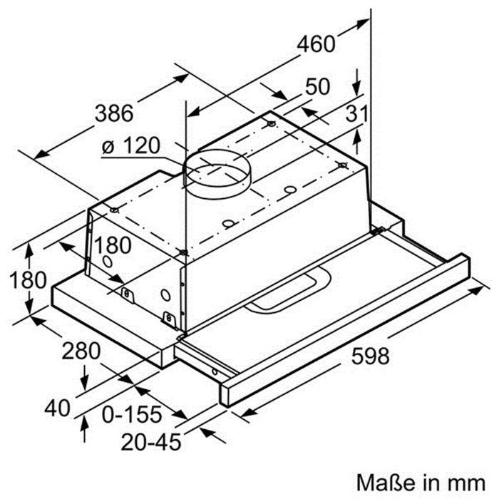 Thông tin lắp đặt của máy hút mùi Bosch DFT63AC50