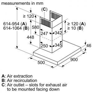 Thông số lắp đặt của máy hútmùi Bosch DWB98JQ50B