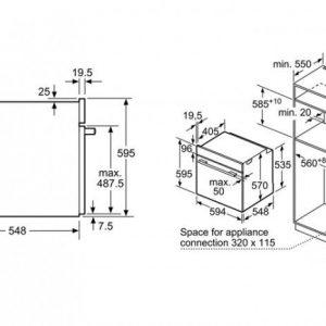 Thông số lắp đặt của lò nướng Bosch HBA5570S0B