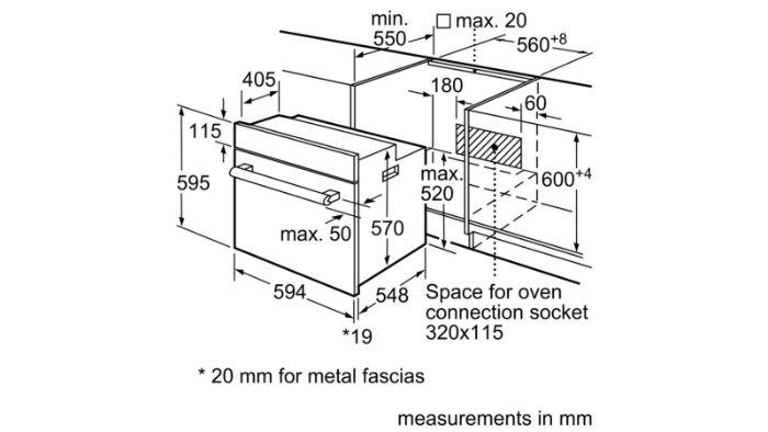 Thông số lắp đặt của lò nướng HBF133BS0A