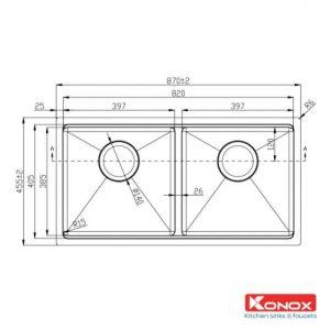 Thông số lắp đặt của chậu rửa bát konox KN8745DUB