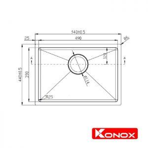 Thông số lắp đặt của chậu rửa bát konox KN5444SU