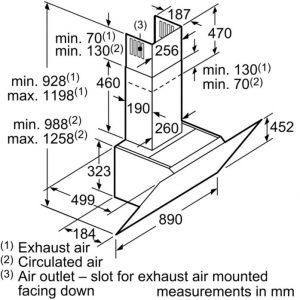 Thông số lắp đặt của máy hút mùi DWK97JQ60B
