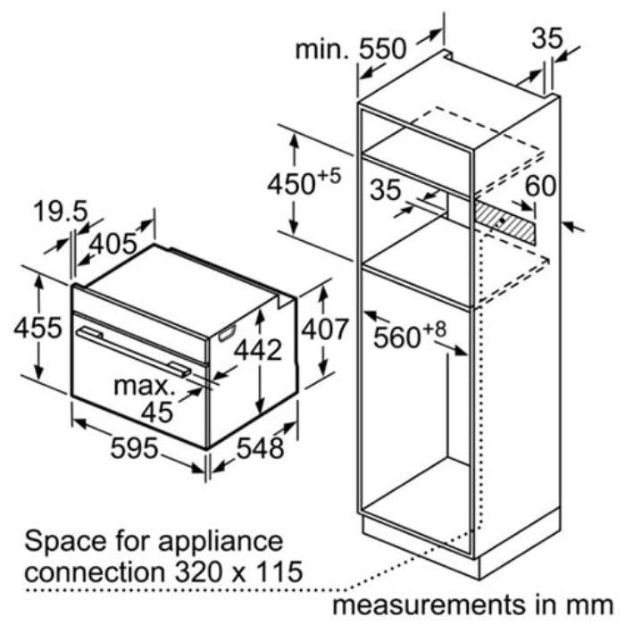 Thông số lắp đặt của lò nướng kết hợp hấp Bosch CSG656RS1