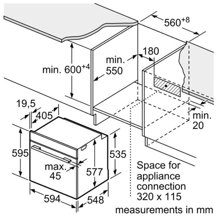 Thông tin lắp đặt của lò nướng Bosch HBG635BS1
