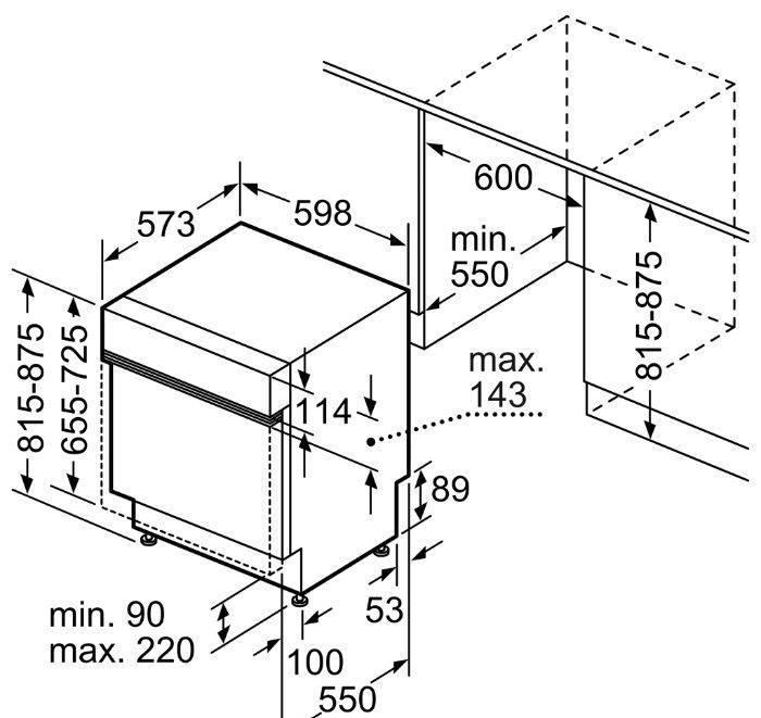 Thông tin lắp đặt của máy Bosch SMI8YCS01E serie 8