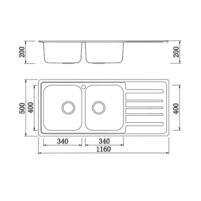 Thông số kỹ thuật của chậu rửa bát konox KS11650 2B phải