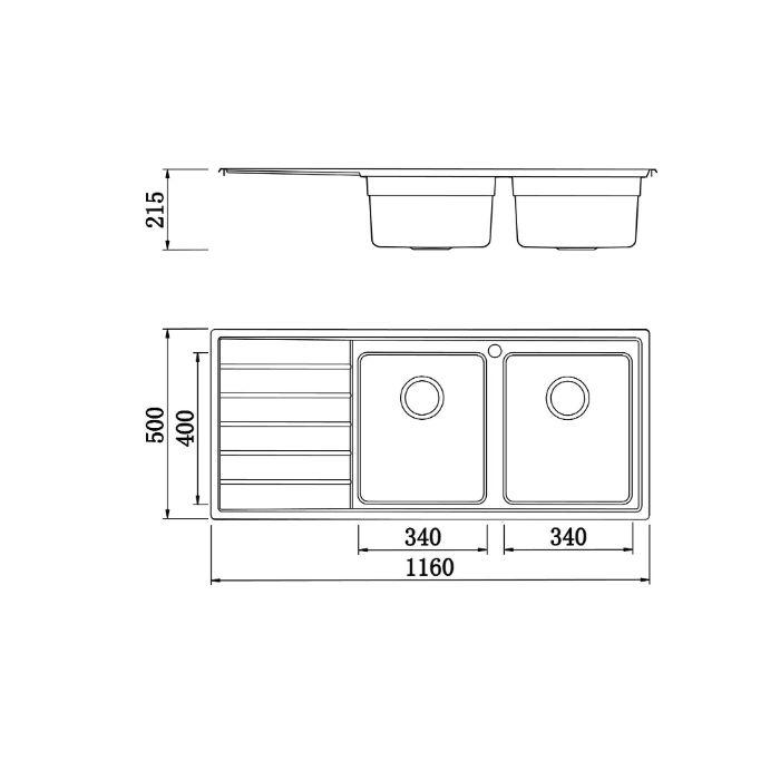 Thông số kỹ thuật của chậu rửa bát konox KS11650 2B trái