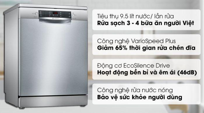 Thông tin nổi bật của máy rửa bát Bosch SMS46MI01G sáng bóng, rộng rãi